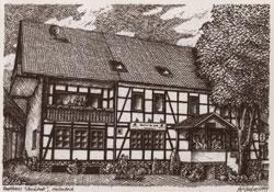 """Ansichtskarte vom Gasthaus """"Zur Linde"""" aus dem Jahr 1999"""